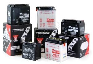 A range of Yuasa batteries at Wemoto